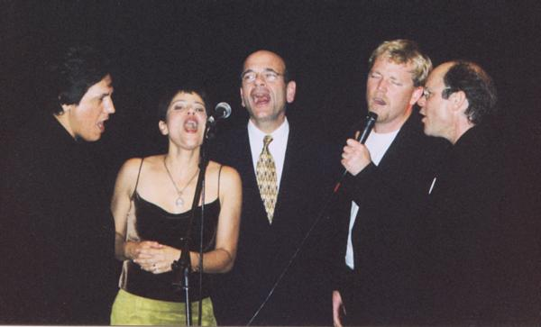 Beltran, Dawson, Picardo, RDM, and Phillips singing at GB 2001
