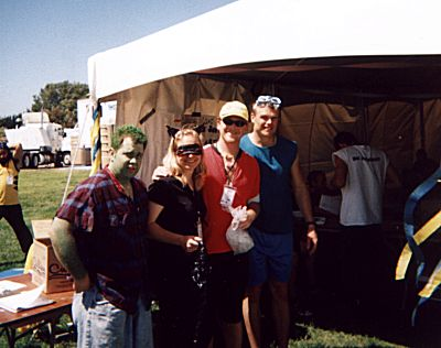 At the administration tent with friends